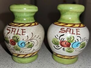 ANTIQUE JARS FLORAL HAND PAINTED SALT AND PEPPER SHAKERS MADE IN ITALY SIGNED. $20.00