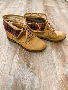 Womens Booties Size 9 Plaid Brown Rampage $19.99