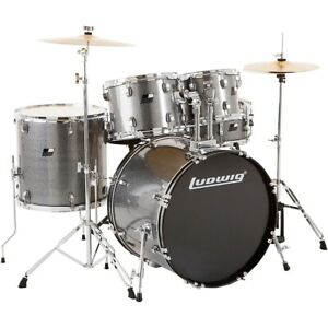 Ludwig Backbeat Complete 5 Piece Drum Set w Hardware Cymbals Metallic Silver $429.99