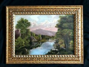 ANTIQUE OIL PAINTING #x27;SUNSETS ON THE LAKE#x27; CREATED IN 1850TH ORIGINAL FRAME ASIS $115.00