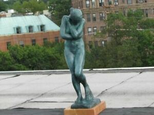 18quot; Tall Green Patina Famous Art Work Eve by French Artist Rodin Bronze Figurine $439.00