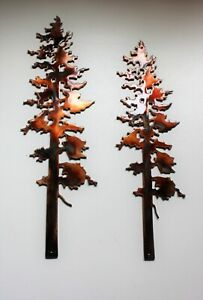 Two Pine Trees Metal Wall Art Decor 10quot; amp; 12quot; $22.98