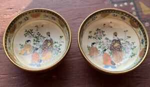 Pair Antique Japanese Satsuma Saucers Porcelain Mini Bowls Dish Signed Marked