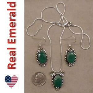 REAL EMERALD sterling silver necklace and earrings SET SJ110 25 $46.99