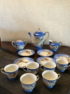 TEA SET Vintage Collectible Japanese Moriage Dragonware Blue w Gold Trim 14 pc