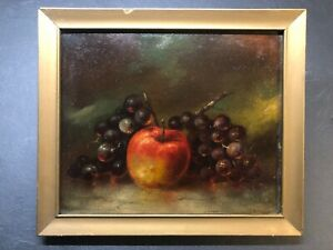 Antique painting Still Life Apple Grapes Fruit early 1900#x27;s $250.00