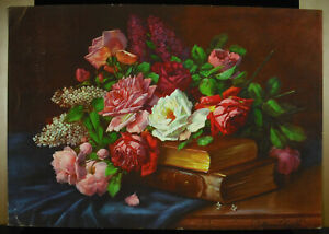 Chromolithography Flowers Roses And Books Hardcover Towards 1930 amp; Old $94.92