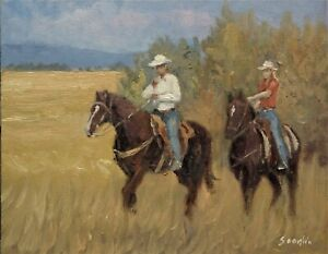 Sean Wu original oil painting 11x14 on canvas board horse riding $129.00