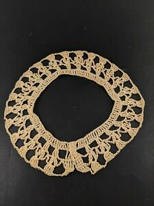 Vintage Crocheted Lace Collar Tan Ecru Costume Sewing Simple Round Craft Costume $8.00