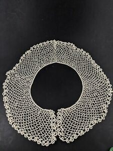 Vintage Crocheted Lace Off White Delicate Sewing Simple Round Craft Costume $8.00