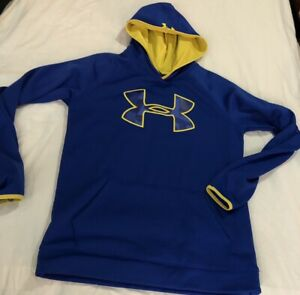 Under Armour Hoodie Boys Blue Yellow Pullover Youth XLarge XStorm $20.00