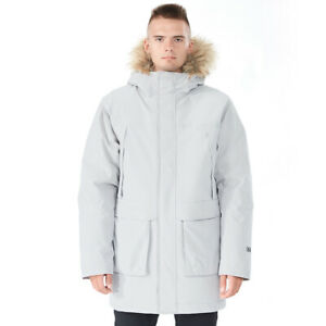 Mens Hooded Down Jacket Insulated Winter Puffer Coat w Faux Fur TrimMask Gray $19.49