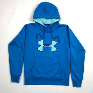 Under Armour Cold Gear Hoodie SweatShirt Semi Fitted Blue Size Small PullOver $11.62