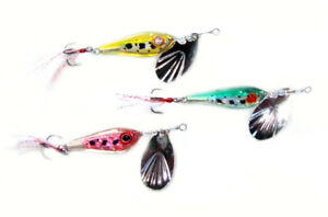 Deadly 3 x New Minnow Inline spinner Lure 3D wet eyes Full set