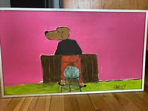 Earl Swanigan Original Signed Hand Painted On Wood quot;Dog In Heelsquot; $450.00