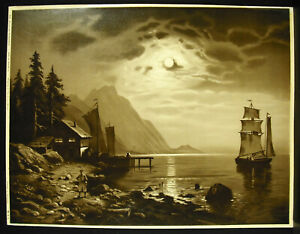Sailboat On the Lake Germany Niederrhein c1900 M amp; L Chromolithography Germany $106.54