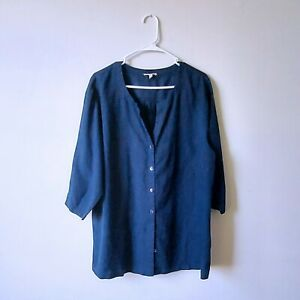 Eileen Fisher Size 1X Navy Organic Linen Button Down $30.00