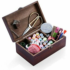 Wooden Sewing Kit Sewing Boxes Organizer with Accessories Retro Wooden Box $32.57