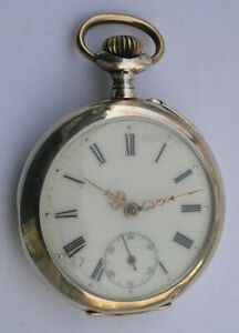 ANTIQUE TOP WIND SOLID SILVER 0.800 OPEN FACE MEN#x27;S POCKET WATCH SWISS 1900#x27;s