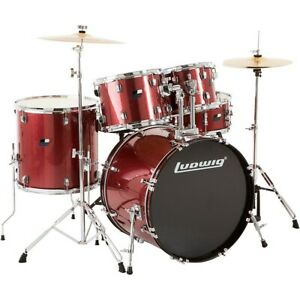 Ludwig Backbeat Complete 5 Piece Drum Set w Hardware Cymbals Wine Red Sparkle $429.99