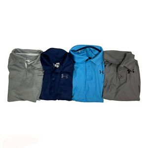 Under Armour Golf Shirts Polos Boys Large YLG Blue Gray Shorts Sleeves Heatgear $44.97