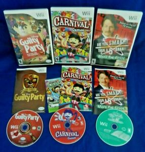 Wii;Disney Guilty PartyCarnival GamesAre You Smarter Than 5th Graderw MansVG $27.00