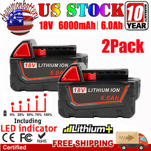 2PACK For Milwaukee M18 Lithium XC 6.0 Extended Capacity Battery 48 11 1860 LED