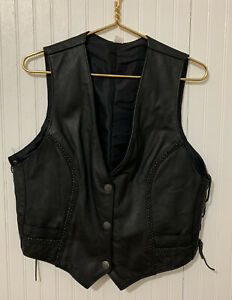 Womens Leather Braided Barber Dime Button Vest Size XL Side lace $37.80