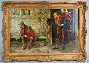 Antique Painting Oil Continental 1800s Francis Sydney Muschamp Gold Frame $3148.95
