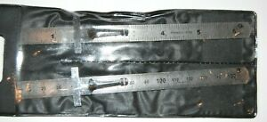 NEW pair of stainless steel rulers with pocket clip t square metric standard $4.35