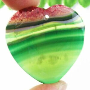 38x8mm Green Red Onyx Druzy Geode Agate Heart Pendant Bead B50223 $7.46