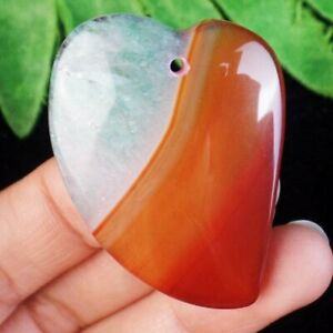 43x30x7mm Red Green Onyx Druzy Geode Agate Heart Pendant Bead D30128 $7.46