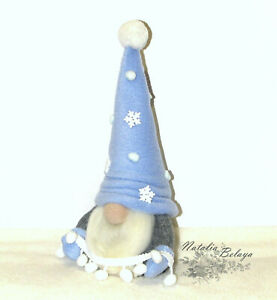 Cute Christmas Norwegian Gnome Nordic Hygge Blue Winter Holiday Home Decoration