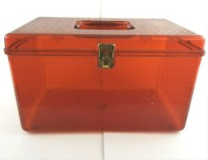 Vtg Wil Hold Wilson Large Plastic Amber Orange Sewing Storage Box Made in USA $29.97