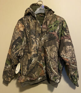 Mossy Oak Break Up Country Mens Bomber Jacket Hood Insulated Camo Hunting 2XL