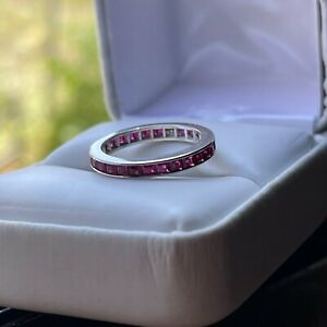Ruby 14K White Gold Full Eternity Ring * Calibre Step Cut * Channel Set * WOW