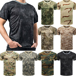Mens Tactical Military Army Camouflage T Shirt Short Sleeve Summer Camo Tee Tops