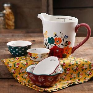 Pioneer Woman Timeless Floral 5 Pc Prep Set Measuring Bowl and Cups Stoneware