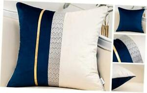 Patchwork Velvet Throw Pillow Cover with Gold 18 x 18cover only Navy Blue