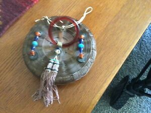 Small Vintage Chinese Wicker Sewing Basket Glass Beadsamp;Ring Coins Tassel 5 5 8quot;D $14.00