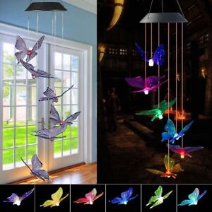 LED Color Changing Solar Powered Wind Chimes Butterfly Garden Decor Waterproof