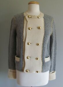 Tory Burch Wool Blend Cardigan Jacket Knit Gray Buttons Military Pockets Size S $75.00
