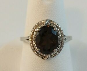 Solid Sterling Silver oval Faceted Smoky Topaz Ring SZ 7.25 Textured Setting $19.99