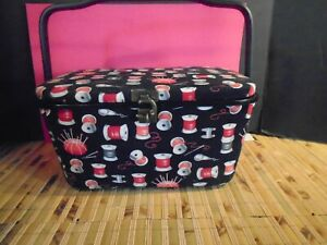 Sewing Box Basket Square black with thread design $19.00