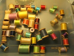 Lot of 51 Wood Sewing Spools for Crafts or Display or use for sewing $15.00