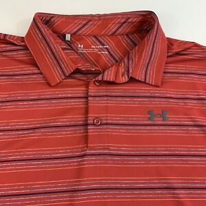 Under Armour Golf Polo Shirt 2XL Loose Heat Gear Red $21.95