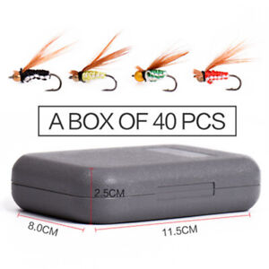 40pcs Flies Beaded Fly Fishing Dry Trout Bass Lures Flies Collection Free Box