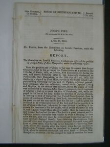Gov Report 1860 Joseph Pike of NH Service to U.S. as a Private Until 1815