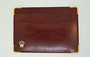 Genuine New Rolex Card Wallet Brown Italian Leather $157.00