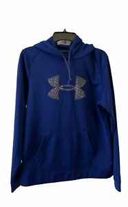 Under Armour Cold Gear Hoodie Large Semi Fitted Blue Sweatshirt Big Logo $21.00